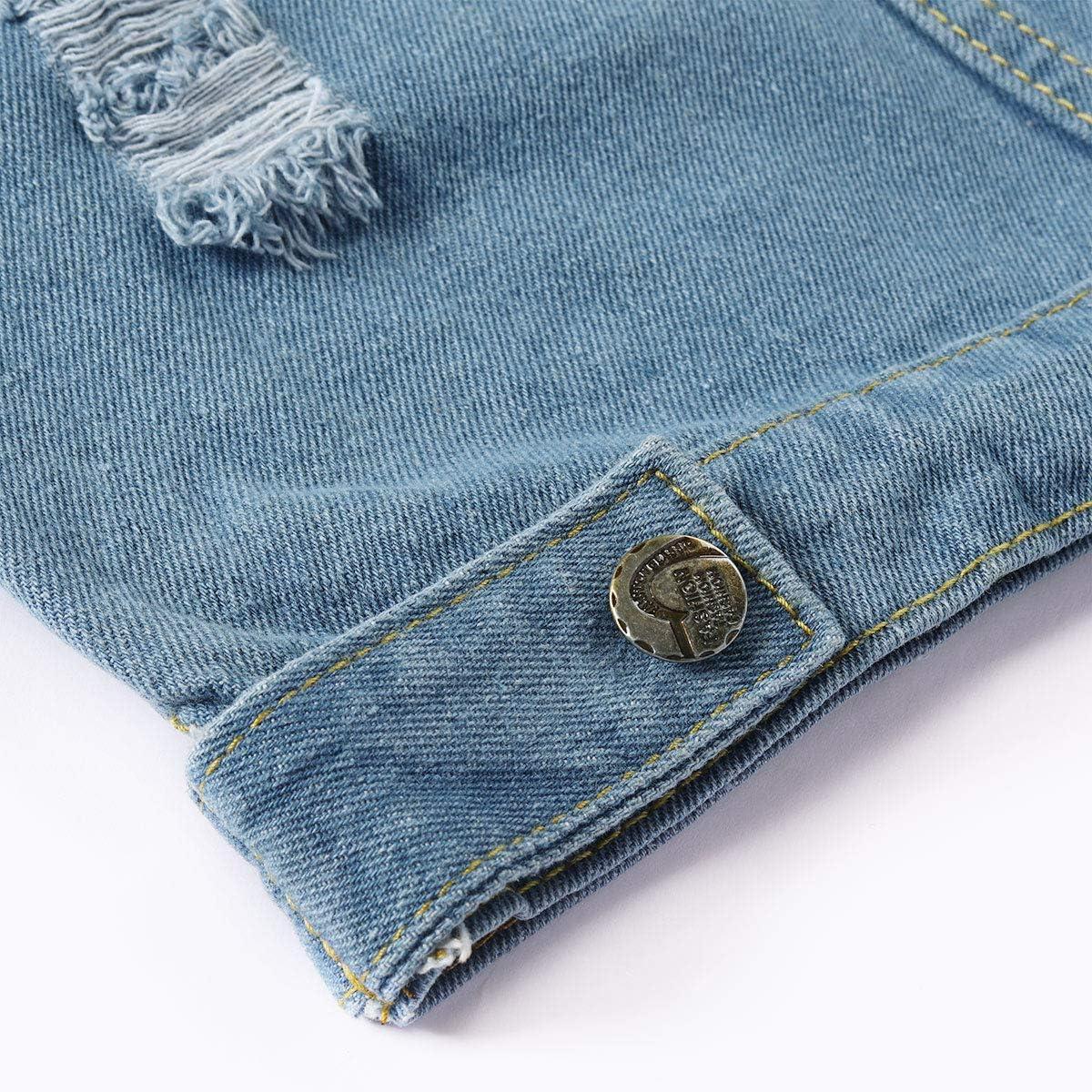 YOUTHUP Gilet per Uomo Vintage Strappato Gilet di Jeans da Uomo Fresco Senza Maniche Giacca Jeans Capispalla