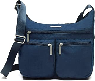 Nylon Travel Tote Small Crossbody Purse for Women with Trolley Sleeve (Navy Blue)