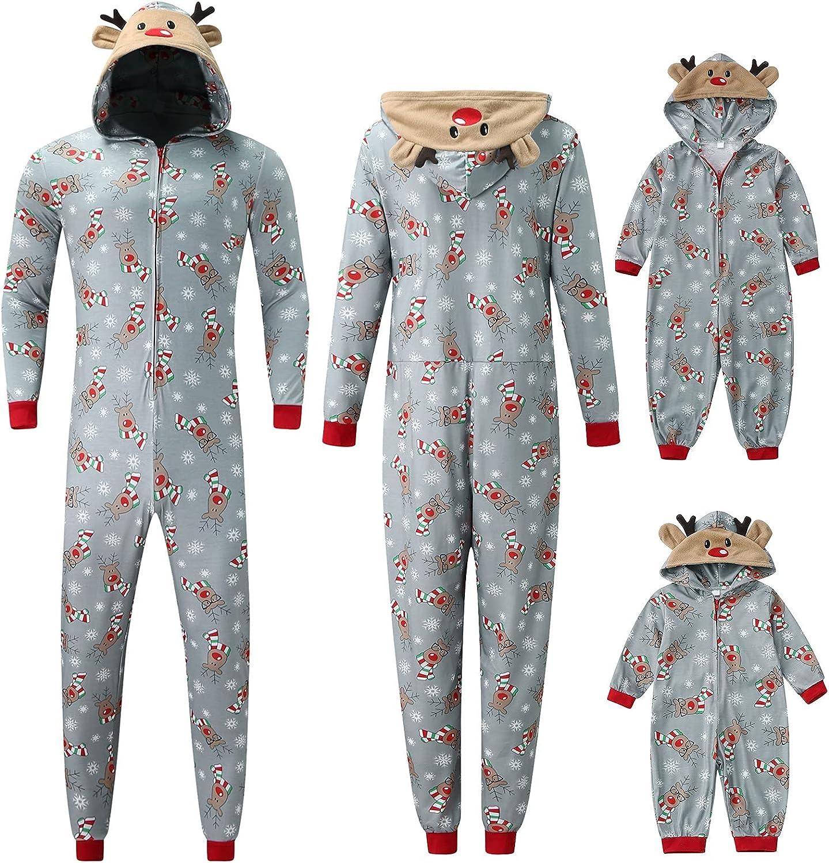 Christmas Pajamas Set for Family One Max 50% OFF Fleece Piece Memphis Mall Reindeer Jumps
