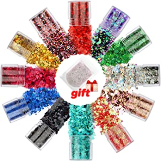 Body Glitter Set, 12+1 Colors Holographic Chunky Sequins, Glitter Powder, for Cosmetic Face Nails Hair Eyes, Festival, Hol...