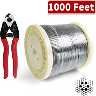 LuckIn 1/8 Stainless Steel Cable, T316 Aircraft Wire Rope, 7 x 7 Strands Construction for Cable Railing Project (1000 FT)