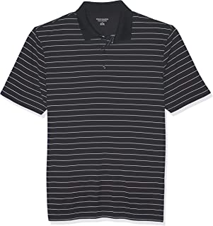 Amazon Essentials Men's Regular-Fit Quick-Dry Stripe Golf Polo Shirt, Black, Small