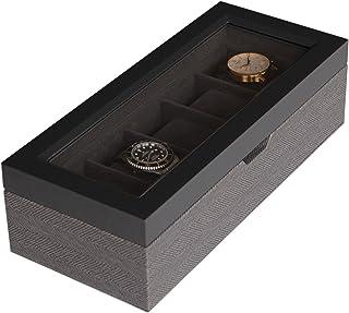 Boîte à Montres Bicolore, Motif à Chevron, Coffret Montres Homme/Femme, Boite de Rangement pour 5 Montres, Organisateur av...