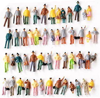 People Figurines M50 50 PCs Model Trains Architectural 1:75 Scale Painted Figures Sitting and Standing Tiny People for Miniature Scenes New