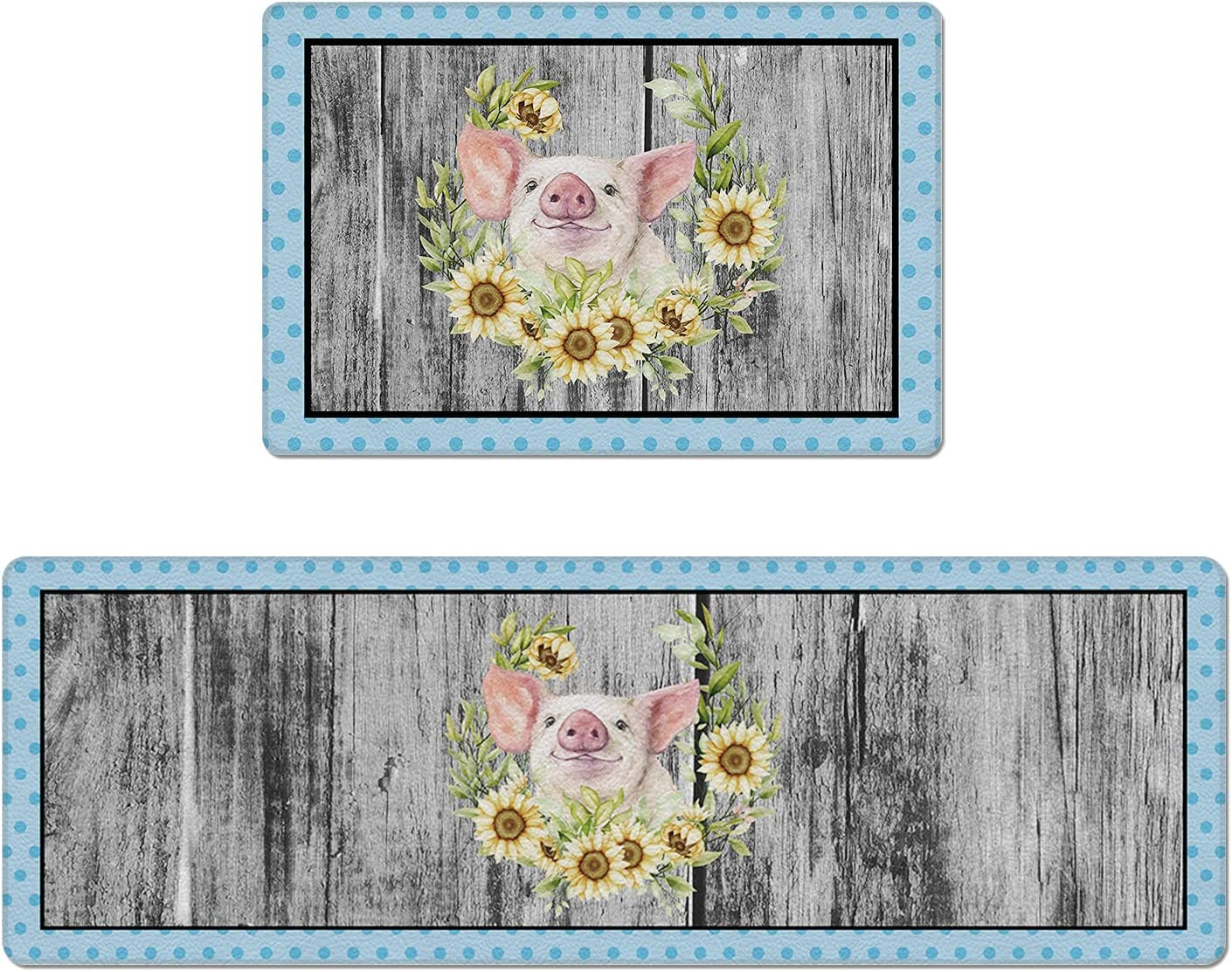 Set of 2 Kitchen Rug excellence shop PVC Mats and Leather C Non-Slip