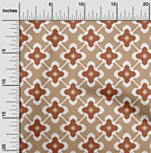 oneOone Velvet Light Brown Fabric Floral & Tiles Moroccan Fabric for Sewing Printed Craft Fabric by The Yard 58 Inch Wide