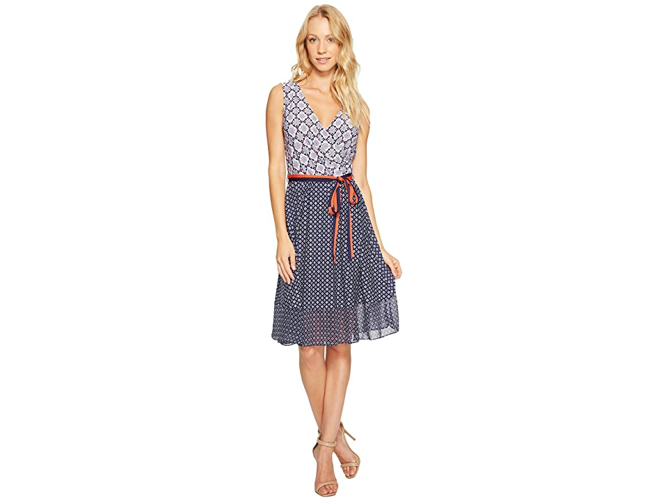 Donna Morgan Wrap Front Dress with Combo Peplum Skirt (Marine Navy/Kiss Multi) Women
