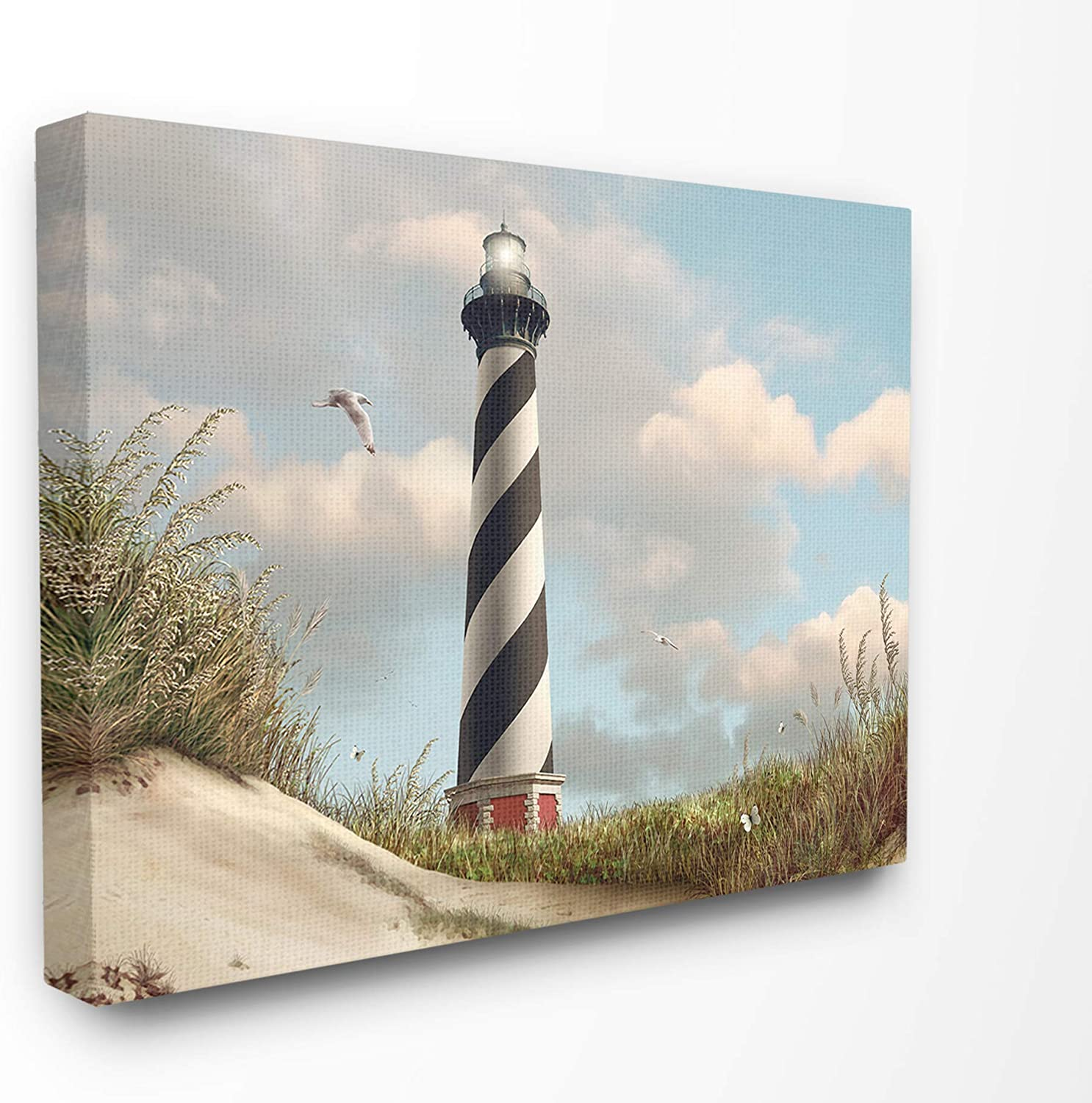 The Stupell Home Decor Cape Hatteras Black and White Swirl Shore Side Lighthouse with Sand Dune Stretched Canvas Wall Art, 11x14, Multi-color