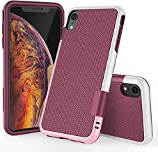 TILL for iPhone XR Case, TILL(TM) Ultra Slim 3 Color Hybrid Impact Anti-slip Shockproof Soft TPU Hard PC Bumper [Build in Card Slot] Extra Raised Lip Case Cover For Apple iPhone XR All Carriers [Wine]