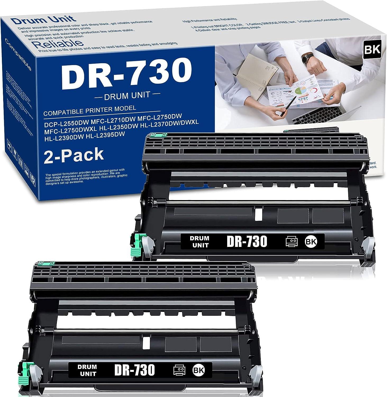 (2-PK,Black) DR730 DR-730 Compatible Drum Unit Replacement for Brother DCP-L2550DW MFC-L2710DW L2750DW L2750DWXL HL-L2350DW L2370DW/DWXL L2390DW L2395DW Printer Drum Unit, Sold by NEODAYNET.