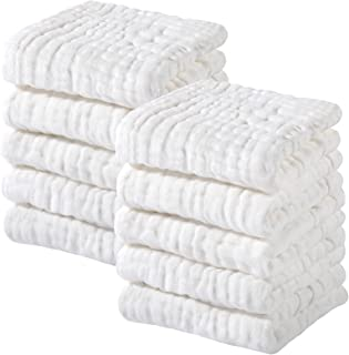 Muslin Baby Washcloths 100% Cotton Face Towels 10 Pack Wash Cloths for Baby 12x12in Soft & Absorbent Baby Wipes by Yoofoss...
