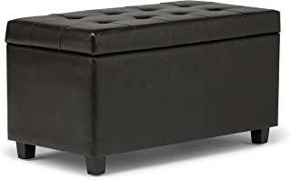 Simpli Home S-38 Cosmopolitan 34 inch Wide Contemporary  Storage Ottoman in Tanners Brown Faux Leather