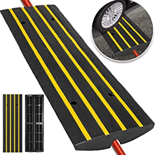 Happybuy Car Driveway Rubber Curb Ramps Heavy Duty 22000lbs Capacity Threshold Ramp 2.5 Inch High Cable Cover Curbside Bridge Ramp for Loading Dock Garage Sidewalk (1-Channel, 1Pack-Curb Ramp)