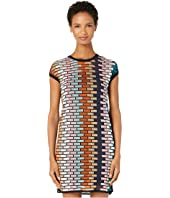 M Missoni - Cap Sleeve Short Dress in Brick Stitch