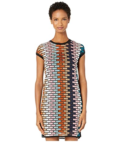 M Missoni Cap Sleeve Short Dress in Brick Stitch (Multi) Women