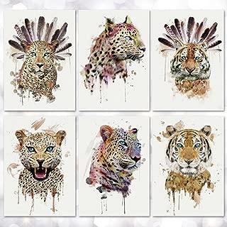 Leoars 6 Sheets Temporary Tattoo for Men Women Wild Style Tiger Leopard Large Waterproof Tattoos Sticker Water Transfer Body Art Fake Tattoo for Boys Teens Makeup