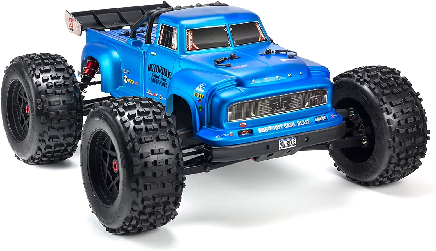 Amazon Com Arrma Notorious 1 8 Scale Blx Brushless 4wd Rc Stunt Truck Rtr 6s Lipo Battery Required With 2 4ghz Stx2 Radio Ara106044t2 Blue Toys Games