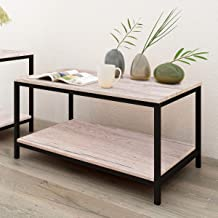 Small Side Table Mobile Coffee Table Heavy Duty Iron Snack Tables End Desk with Wheels Nature Wood Look Accent Black