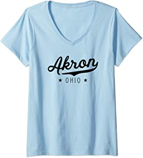 Womens Classic Vintage Retro Akron Ohio Pride Gift Novelty V-Neck T-Shirt