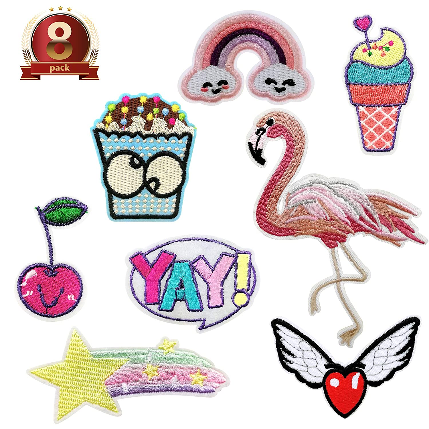 8PCS Iron-on Or Sew-on Embroidered Patches Applique Kit/Accessories for DIY Decoration Or Repair,Sew On Patches for Jeans Jacket, Clothing, Handbag, Shoes,Backpacks Jeans Caps Shoes, Assorted Sizes