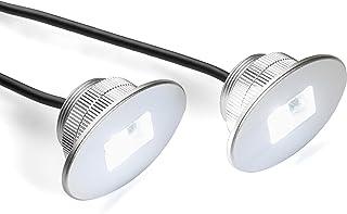 Set of 2 Bright White Marine LED Stern Lights for Bass,  Lake,  River,  Boating,  Kayak,  Ocean,  Sailing,  Fishing,  Pontoon. Flush bolt-style housing fits 1 inch hole