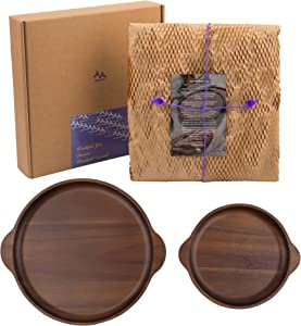 sooooul Acacia Wood Serving Trays - Set of 2 Wooden Plates - Round Decorative Platters, Charcuterie Boards with Handles for Living Room , Ottoman , Dining Room – Sturdy , Moisture Resistant (11