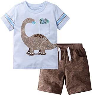Gorboig Little Boy's Cotton Short Clothes Sets Outfits Sets T-Shirt&Shorts 2 Packs