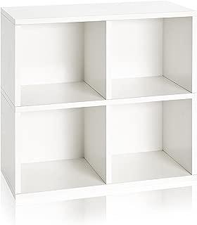 Way Basics zBoard Eco Friendly 4 Cubby Bookcase, White