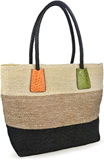 Hoxis Color Block Crocodile Pattern Stripes Woven Synthetic Straw Tote Womens Shoulder Handbag #Lovewin