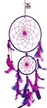 Rooh dream catcher ~ Pink and Purple (large) ~ Handmade Hangings for Positivity (Can be used as Home Décor Accents, Wall Hangings, Garden, Car, Outdoor, Bedroom, Key chain, Meditation Room, Yoga Temple, Windchime)
