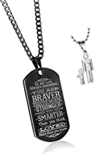 C&L to My Son&Daughter Always Remember You are Braver Than You Believe Quotes Dog Tags Pendant Love Gift