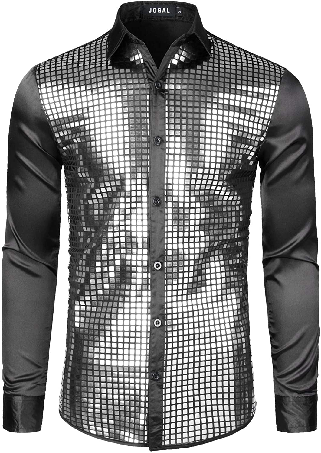 JOGAL Mens 70s Minneapolis Mall price Disco Costume Silver D Sequins Sleeve Long Button