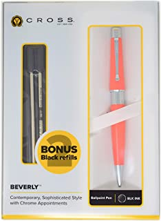 Cross Beverly Coral Orange, Ballpoint Pen + 2 Cross Ballpoint Refills, Black Ink