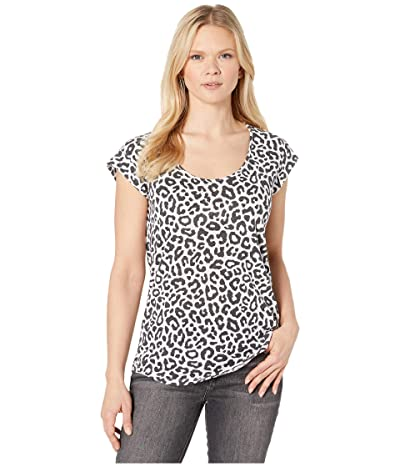Alternative Eco Scoop Cap Sleeve Crew (White Bold Leopard) Women