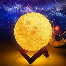 Moon Lamp, AMZJUPWM 3D Printing 16 kleuren lichten met standaard, Touch Control en USB oplaadbare draagbare nachtlampje vo...
