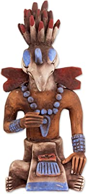 "NOVICA Large Multicolor Animal Themed Ceramic Sculpture, 12.75"" Tall, Maya Birdman from Palenque'"