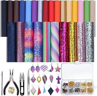 Fabrication de Boucles d'oreilles Faux Cuir Kit d'outils de Bijoux avec Crochets de Boucles d'oreilles et Anneaux Ouverts ...