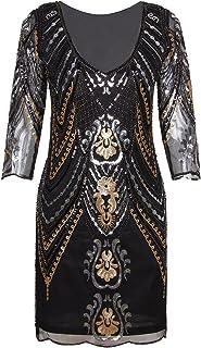 Vijiv 1920s Flapper Dress with 3/4 Sleeve V Neck Squins Cocktail Gatsby Dresses