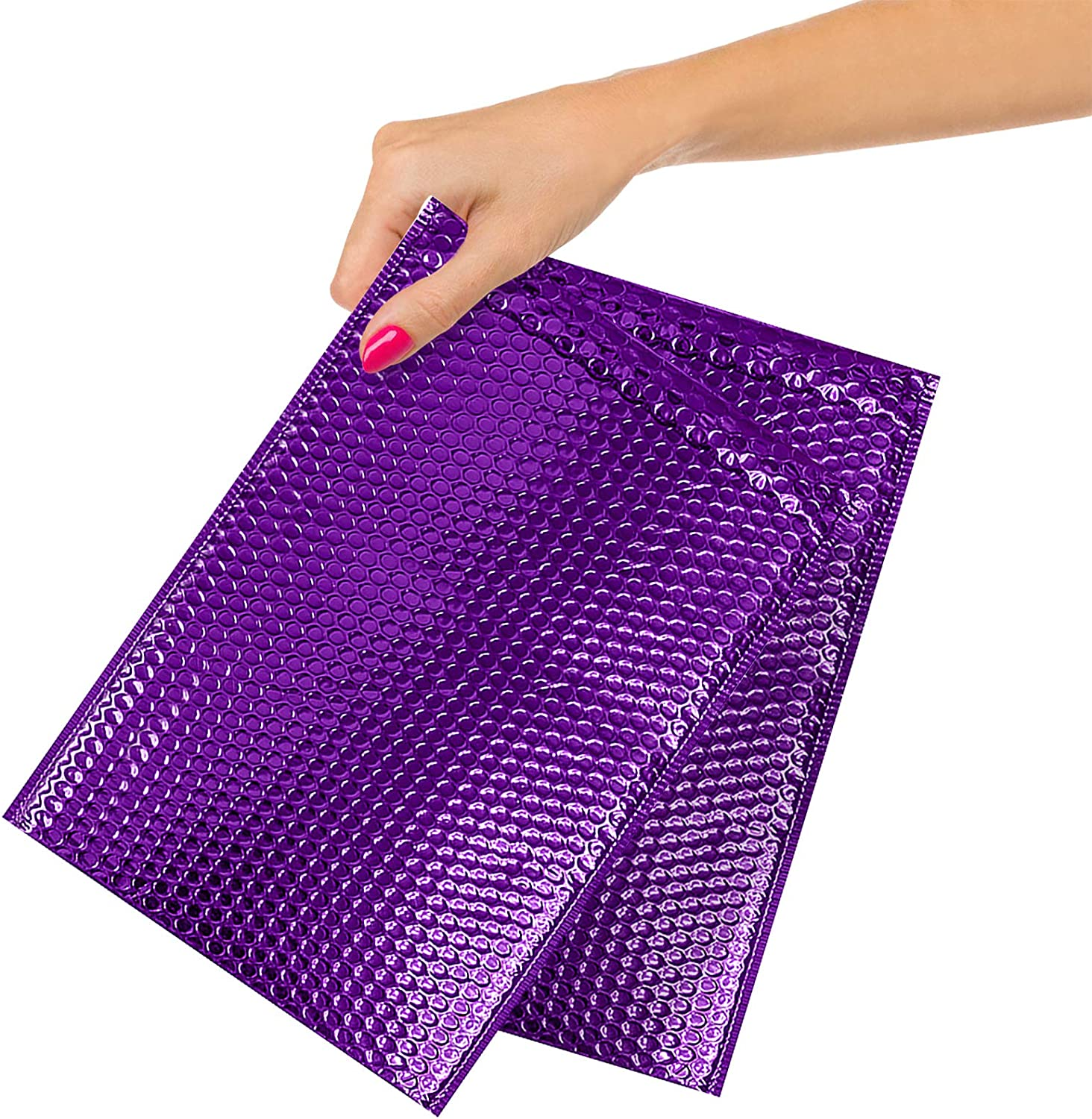250 Pack Cheap mail order sales Metallic Bubble Mailers 6.5 Padd DVD Size x Purple Finally popular brand 10.5