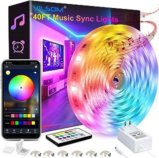 40FT LED Strip Lights, ViLSOM Smart APP Control with Remote Music Sync LED Lights for Bedroom, Room, Ceiling, Party, Home ...