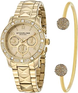 Stuhrling Original Women's Gold Dial Stainless Steel Band Watch & Bracelet Set - SET_697.02_B2G