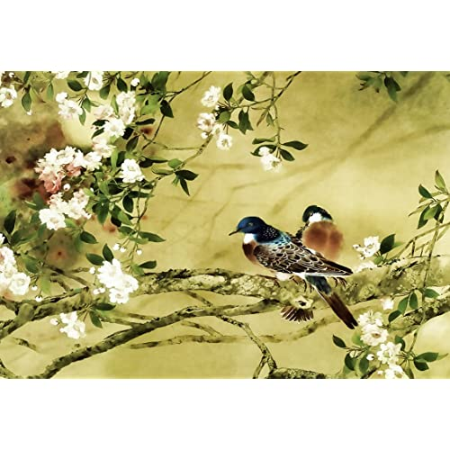 LARGE ORIENTAL CANVAS ART BIRDS PLUM BLOSSOM PAINTING A1