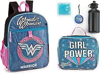 Wonder Woman Backpack Lunch Kit Water Bottle 5 Pc. Mega Set