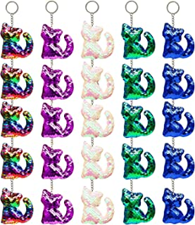 25 Pieces Flip Sequin Keychain Cat Shape Key Ring Hanging Keychain Decoration for Party Supplies