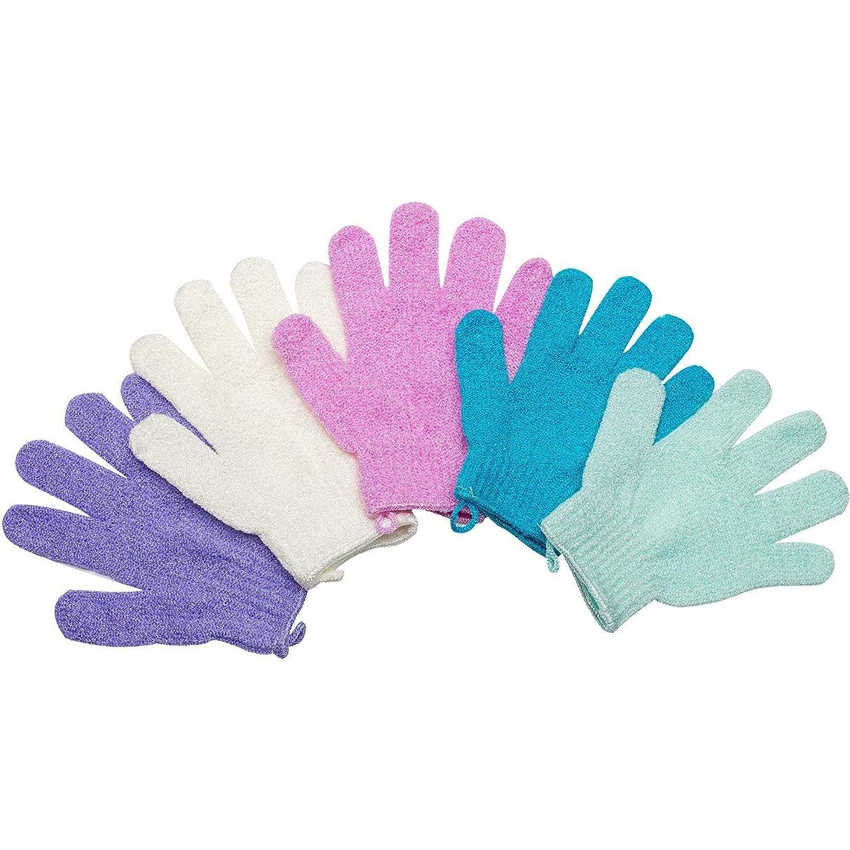 月豊富なバレエ5ペアセットお風呂用手袋 入浴用品 垢すり用グローブ 抗菌加工 角質除去 泡立ち 男女兼用 便利なループ付け