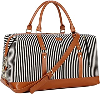 BAOSHA HB-14 Canvas Travel Tote Duffel Bag Carry on Weekender Overnight Bag Oversized for Women and Ladies (Black Strips)