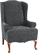 Sure Fit 1pieza Stretch Jacquard, adamascado, sillón, Damasco jacquard elástico, Wing Chair, Gris, 1 uds. por paquete