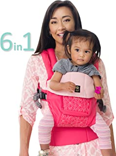 LÍLLÉbaby The Complete Embossed Luxe SIX-Position 360° Ergonomic Baby & Child Carrier, Pink Ribbon - Baby Carrier, Ergonomic Multi-Position Carrying for Infants Babies Toddlers