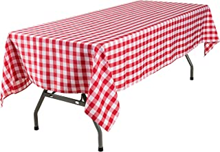 YRYIE 60x120'' Rectangle Buffalo Checkered Polyester Tablecloth Gingham for Oblong Table Family Gatherings,Parties,Wedding Dinner Kitchen Table,Red & White