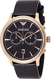 Emporio Armani Men's Ar1792 Dress Black Leather Watch, Analog Display